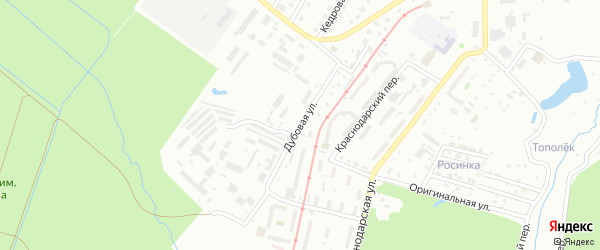 Дубовая улица на карте Хабаровска с номерами домов