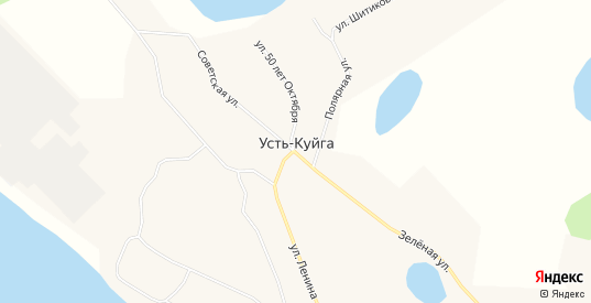 Карта поселка Усть-Куйга в республике Якутия с улицами, домами и почтовыми отделениями со спутника онлайн