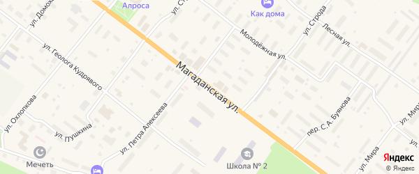 Магаданская улица на карте поселка Хандыга Якутии с номерами домов