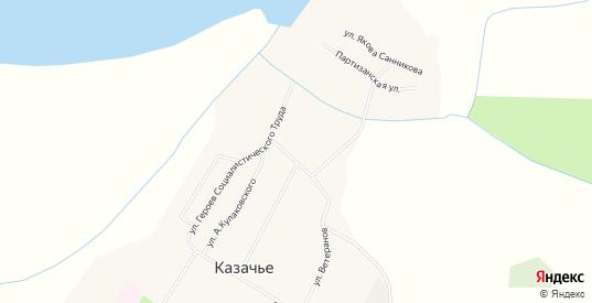 Карта села Казачье в республике Якутия с улицами, домами и почтовыми отделениями со спутника онлайн