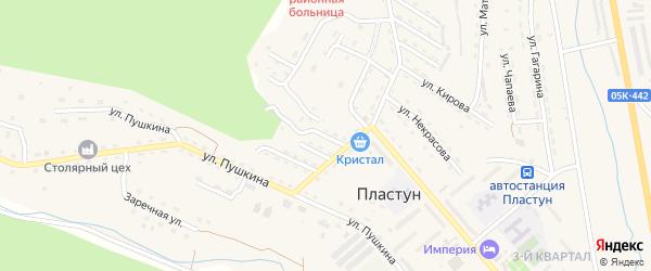 Пионерский переулок на карте поселка Пластуна Приморского края с номерами домов