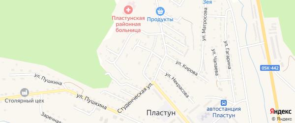 Садовый переулок на карте поселка Пластуна Приморского края с номерами домов