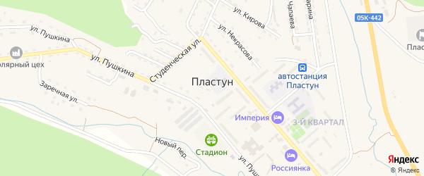 Кленовая улица на карте поселка Пластуна Приморского края с номерами домов
