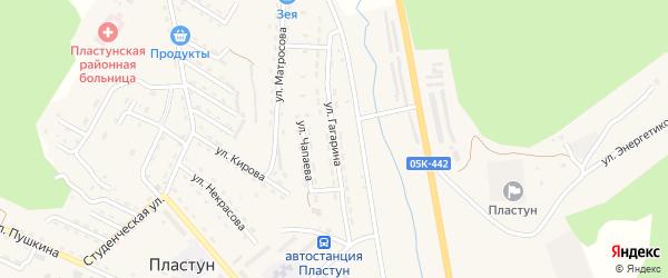 Улица Гагарина на карте поселка Пластуна Приморского края с номерами домов