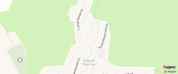 Набережная 1-я улица на карте поселка Пластуна Приморского края с номерами домов
