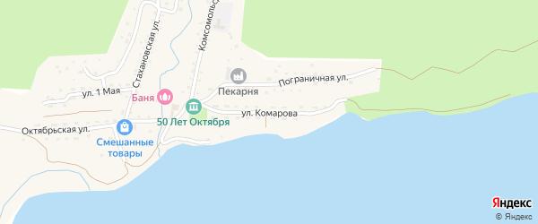 Улица Комарова на карте поселка Пластуна Приморского края с номерами домов