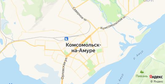 Карта Комсомольска-на-Амуре с улицами и домами подробная. Показать со спутника номера домов онлайн
