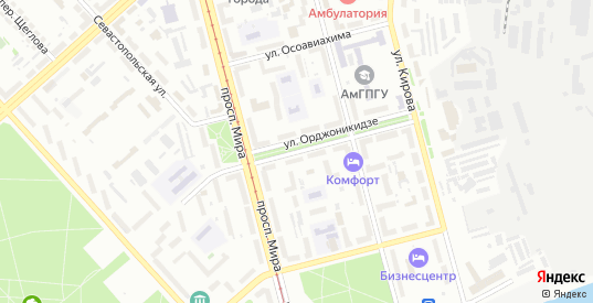 Улица Орджоникидзе в Комсомольске-на-Амуре с номерами домов на карте. Спутник и схема онлайн