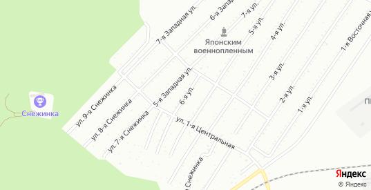 6-я улица в территории Снт Подгорный в Комсомольске-на-Амуре с номерами домов на карте. Спутник и схема онлайн