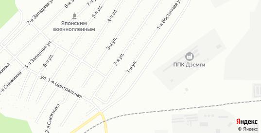 1-я улица в территории Снт Подгорный в Комсомольске-на-Амуре с номерами домов на карте. Спутник и схема онлайн