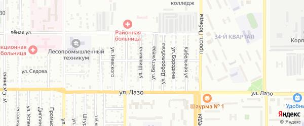 Улица Бестужева на карте Комсомольска-на-Амуре с номерами домов