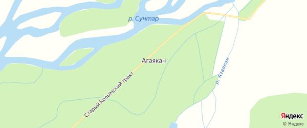Карта села Агаякана в Якутии с улицами и номерами домов