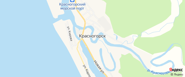 Карта села Красногорска в Сахалинской области с улицами и номерами домов