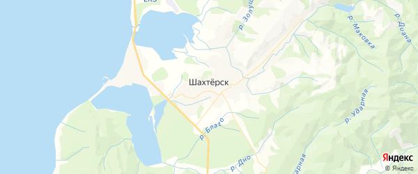Карта поселка Шахтерска Сахалинской области с районами, улицами и номерами домов