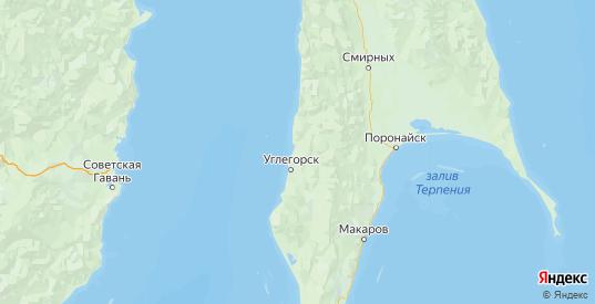 Карта Углегорского района Сахалинской области с городами и населенными пунктами