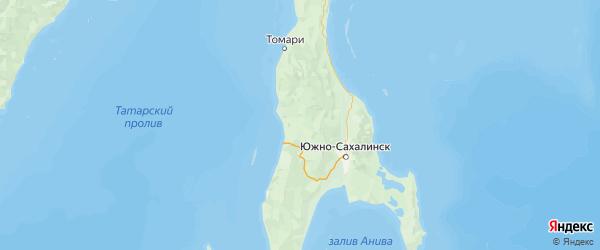 Карта Холмского района Сахалинской области с городами и населенными пунктами