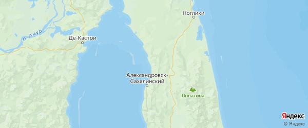 Карта Александровск-сахалинского района Сахалинской области с городами и населенными пунктами