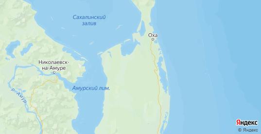 Карта Охинского района Сахалинской области с городами и населенными пунктами