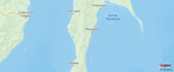 Карта Макаровского района Сахалинской области с городами и населенными пунктами