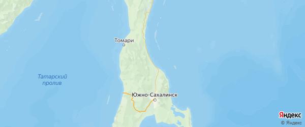 Карта Долинского района Сахалинской области с населенными пунктами и городами