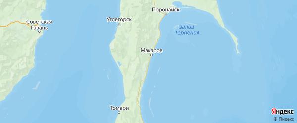 Карта Макаровского района Сахалинской области с населенными пунктами и городами