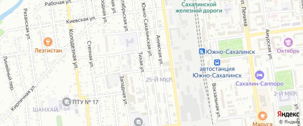 Южно-Сахалинская улица на карте Южно-Сахалинска с номерами домов