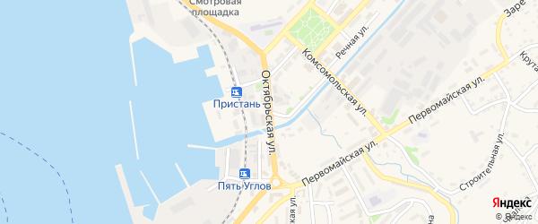 Октябрьская улица на карте Корсакова с номерами домов