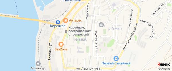 Морская улица на карте Корсакова с номерами домов