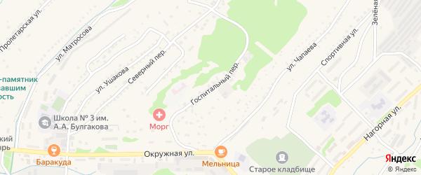 Госпитальный переулок на карте Корсакова с номерами домов