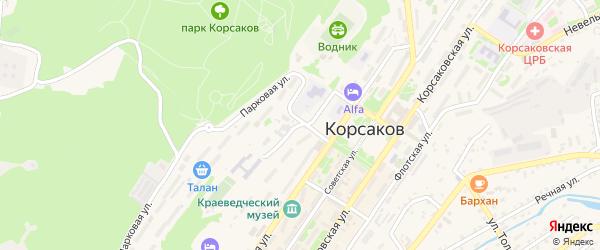 Подгорная улица на карте Корсакова с номерами домов