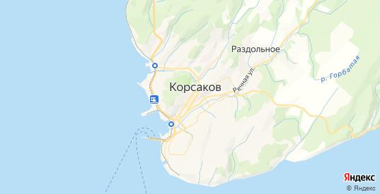 Карта Корсакова с улицами и домами подробная. Показать со спутника номера домов онлайн