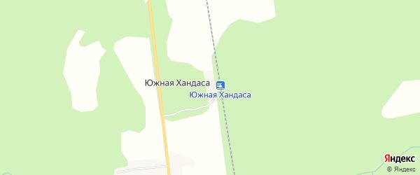 Карта села Южной Хандаса в Сахалинской области с улицами и номерами домов