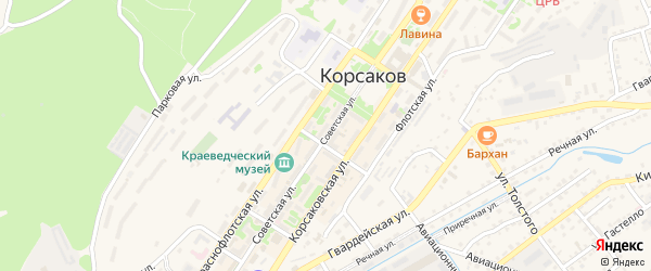 Советская улица на карте Корсакова с номерами домов