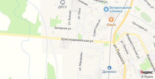 Красноармейская улица в Долинске с номерами домов на карте. Спутник и схема онлайн