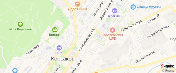 Корсаковская улица на карте Корсакова с номерами домов