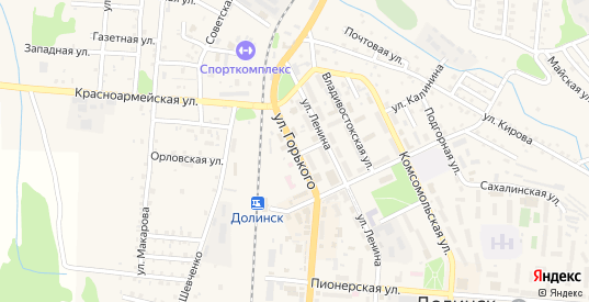 Улица Горького в Долинске с номерами домов на карте. Спутник и схема онлайн
