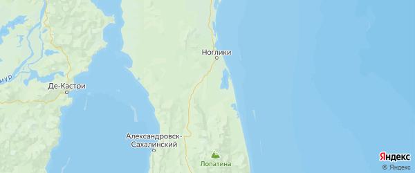Карта Ногликского района Сахалинской области с городами и населенными пунктами