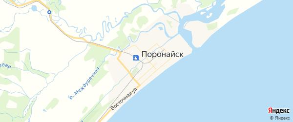 Карта Поронайска с районами, улицами и номерами домов