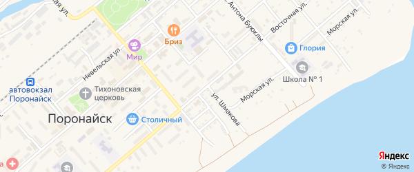 Улица Шмакова на карте Поронайска с номерами домов