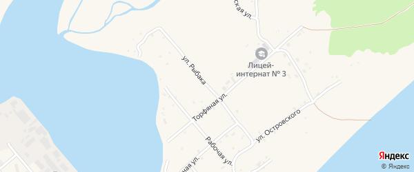 Улица Рыбака на карте Поронайска с номерами домов