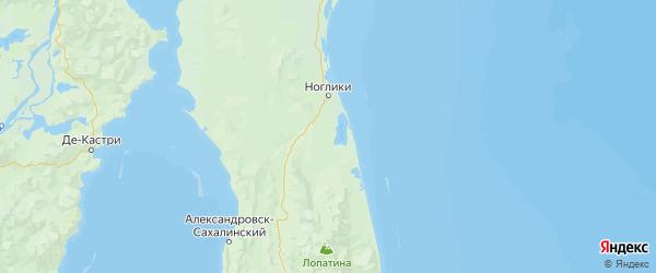 Карта Ногликского района Сахалинской области с населенными пунктами и городами