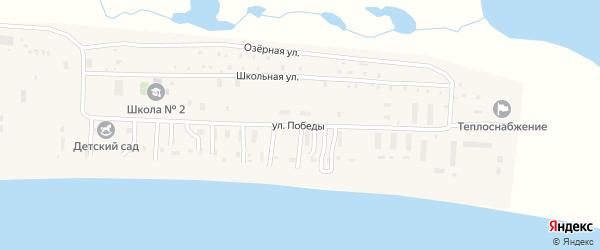 Улица Победы на карте поселка Охотска с номерами домов