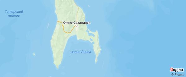 Карта Корсаковского района Сахалинской области с городами и населенными пунктами