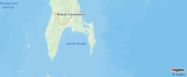 Карта Корсаковского района Сахалинской области с населенными пунктами и городами