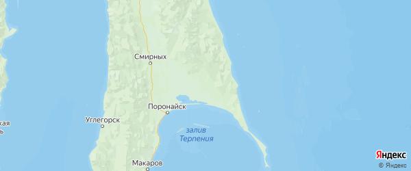 Карта Поронайского района Сахалинской области с городами и населенными пунктами