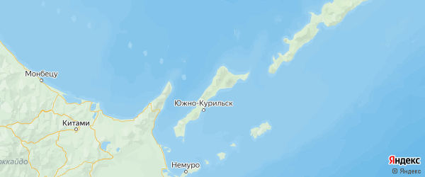Карта Южно-курильского района Сахалинской области с городами и населенными пунктами