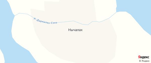 Центральная улица на карте села Нычалаха Якутии с номерами домов
