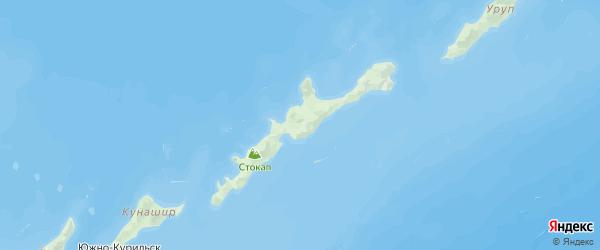 Карта Курильского района Сахалинской области с городами и населенными пунктами