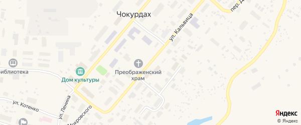 Улица О.Кальвица на карте поселка Чокурдаха Якутии с номерами домов