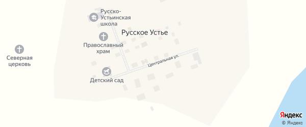 Центральная улица на карте села Русского Устья Якутии с номерами домов